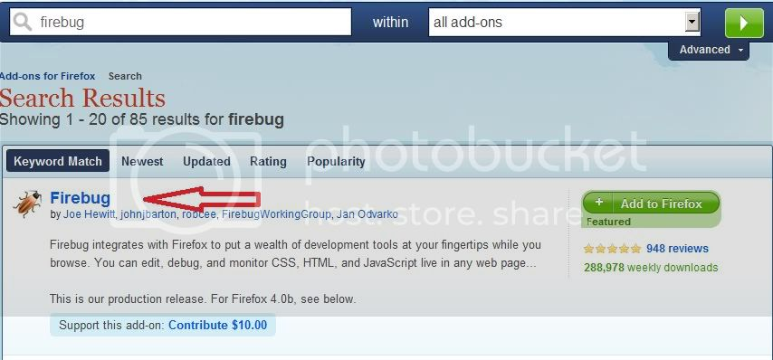 pre installation of firebug