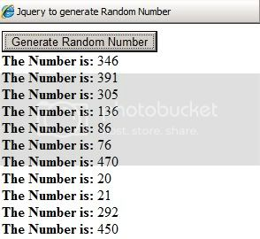 Jquery Random Number